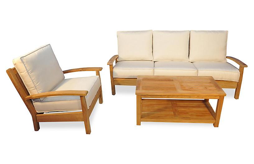 Mil teak conversation set off white outdoor furniture for One kings lane outdoor furniture