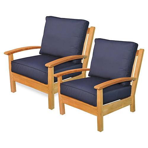 Navy/Teak Outdoor Club Chairs, Pair
