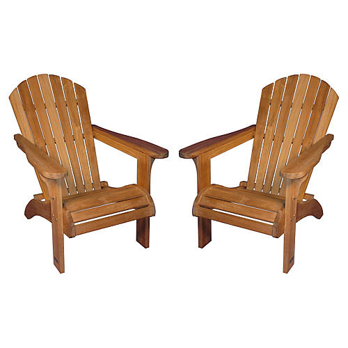Mark Teak Adirondack Chairs, Pair
