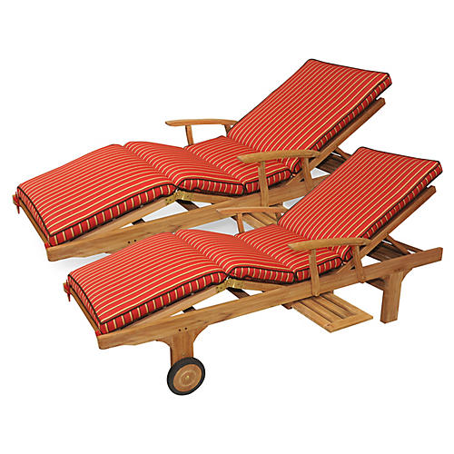 S/2 Cleo Teak Chaises, Crimson Sunbrella