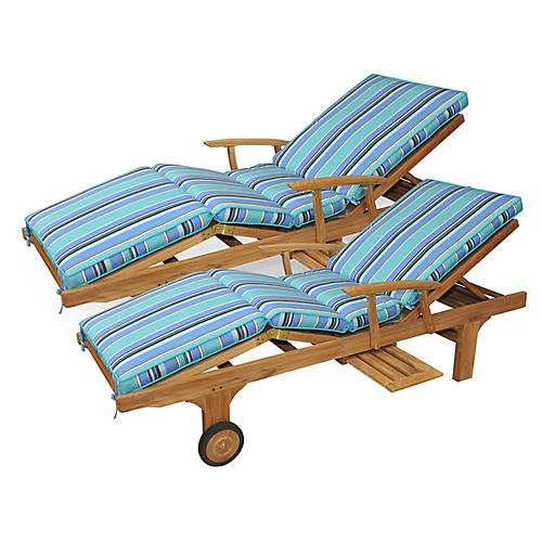 S/2 Cleo Teak Chaises, Light Blue Sunbrella