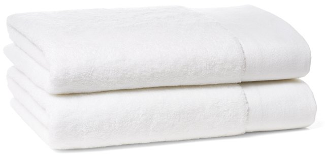 S/2 Dobby Border Bath Towels, White