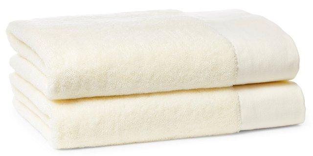 S/2 Dobby Border Bath Towels, Ivory