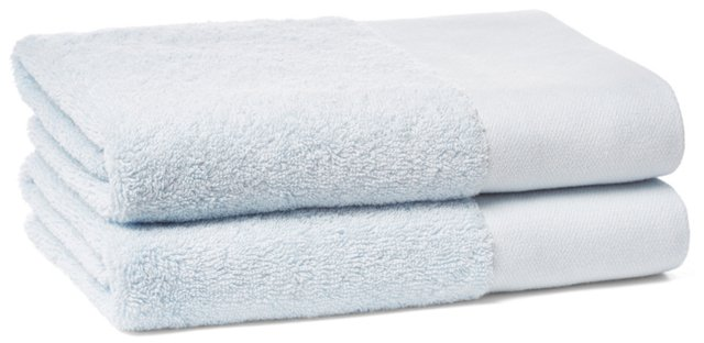 S/2 Dobby Border Hand Towels, Ice Blue