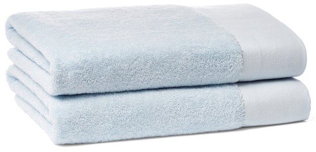 S/2 Dobby Border Bath Towels, Ice Blue