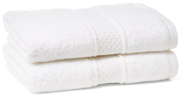 S/2 Classic Hand Towels, White