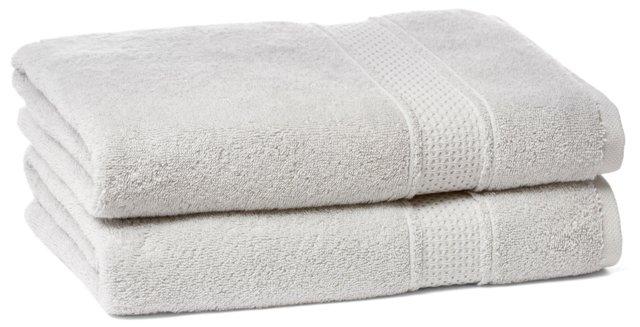 S/2 Classic Bath Towels, Dove