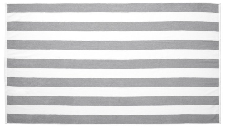 Cabana Stripe Beach Towel, Pewter/White