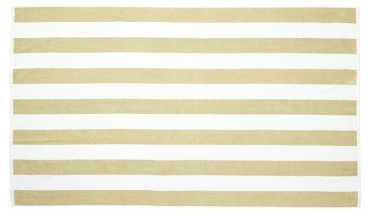 Cabana Stripe Beach Towel, Pale Olive