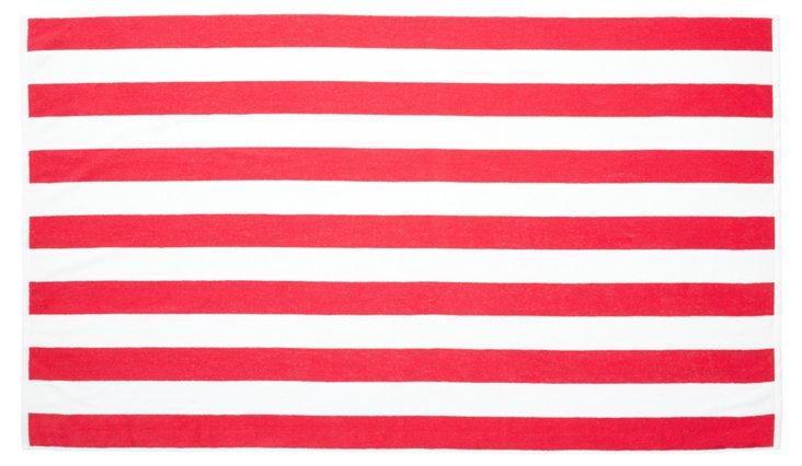 Cabana Stripe Beach Towel, Rose Red