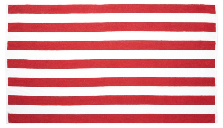 Cabana Stripe Beach Towel, Red