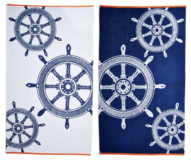 Ship Wheels Beach Towel, Midnight/Orange
