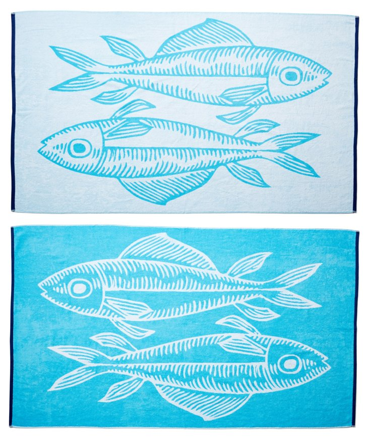 Fish Beach Towel, Turquoise/Midnight