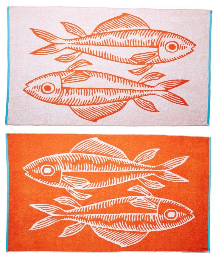 Fish Beach Towel, Orange/Turquoise