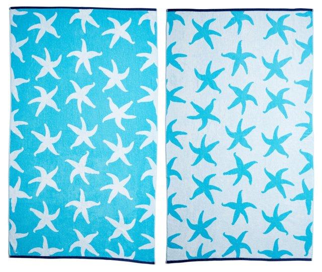 Starfish Beach Towel, Turquoise/Midnight
