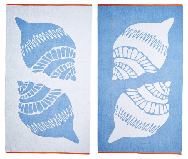Shells Beach Towel, French Blue/Orange