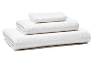 3-Pc Flat Tape Towel Set, White