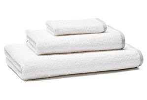 3-Pc Flat Tape Towel Set, Dove