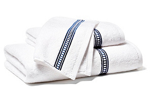 3pc Embroidered Hotel Towel Set, Navy
