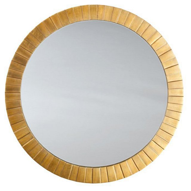 Circular Overlay Wall Mirror, Gold