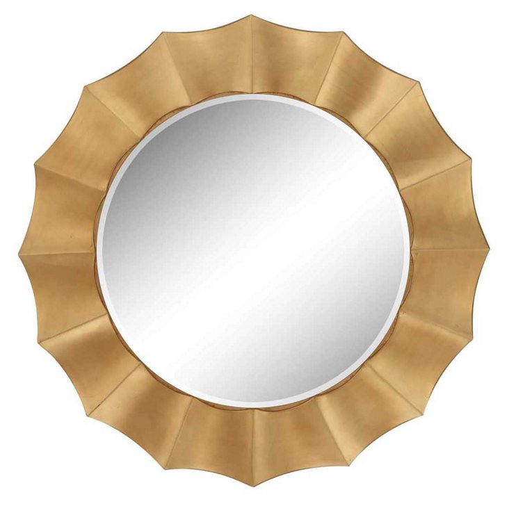Round Scalloped Mirror, Gold
