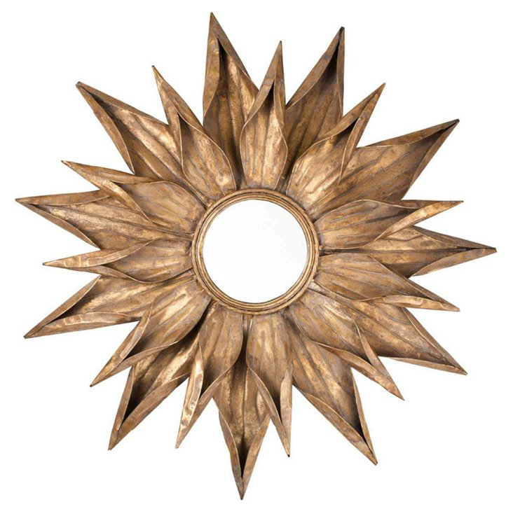 Ares Sunburst Mirror, Antiqued Gold