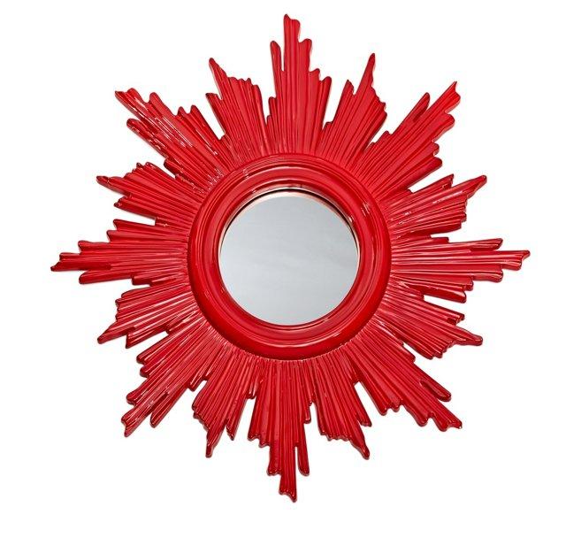 Imari Wall Mirror, Red Lacquer