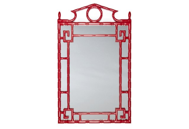 "Pagoda 30"" x 49"" Mirror, Chinese Red"