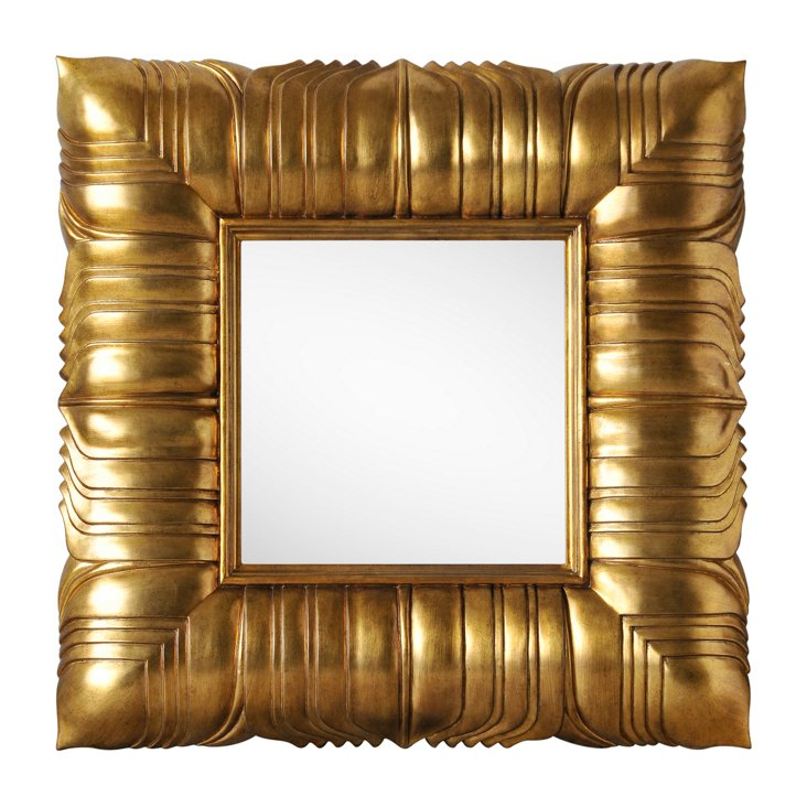 Overlapped Leaves Wall Mirror, Gold