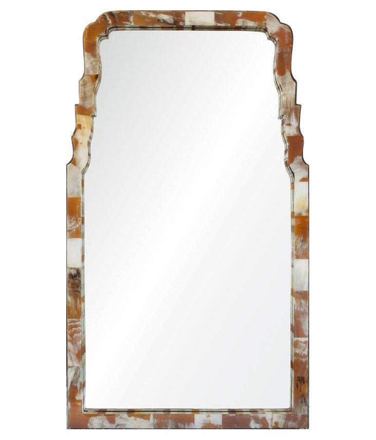 Chippendale Horn Wall Mirror, Light Horn