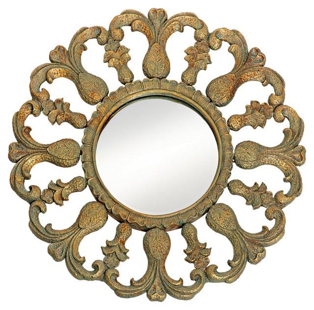 Crete Wall Mirror, Antiqued Iron