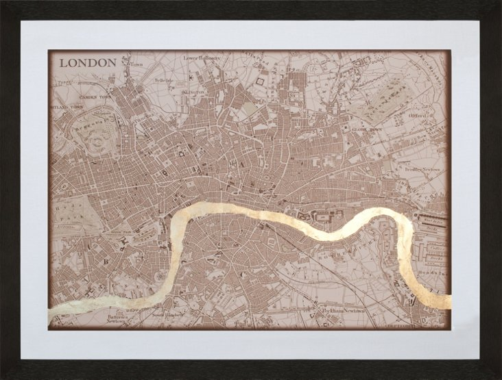 Gold-Leaf Sepia Map of London
