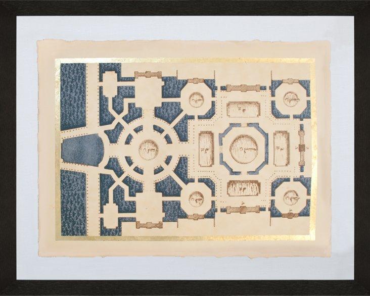 Gold-Leaf Garden Maze on Navy III
