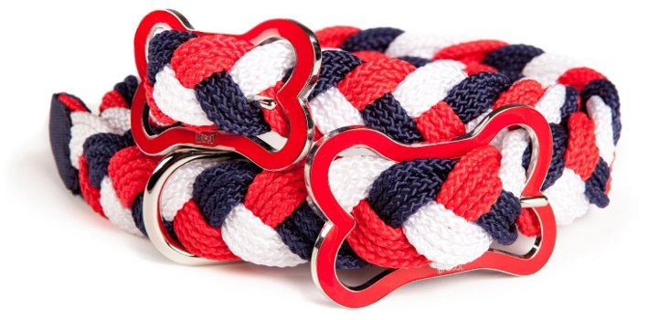 Small Sailor's Knot Collar, Red/Whi/Blue