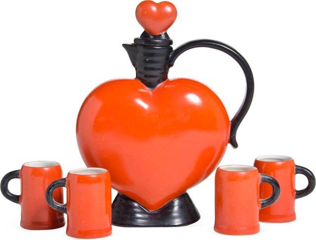 Porcelain Heart Decanter & 4 Glasses