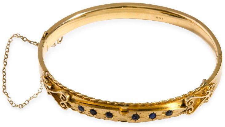 14K Gold Bangle Bracelet w/ Sapphires