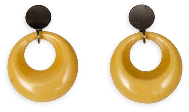 Yellow Bakelite Hoop Earrings