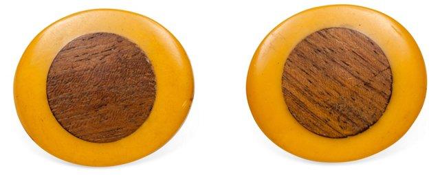 Yellow Bakelite & Wood Earrings