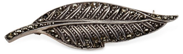 Sterling & Marcasite Leaf Pin