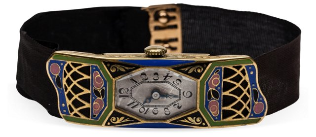 1920s 18K Gold & Enamel Watch