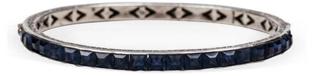 Paste Sapphire & Sterling Bangle
