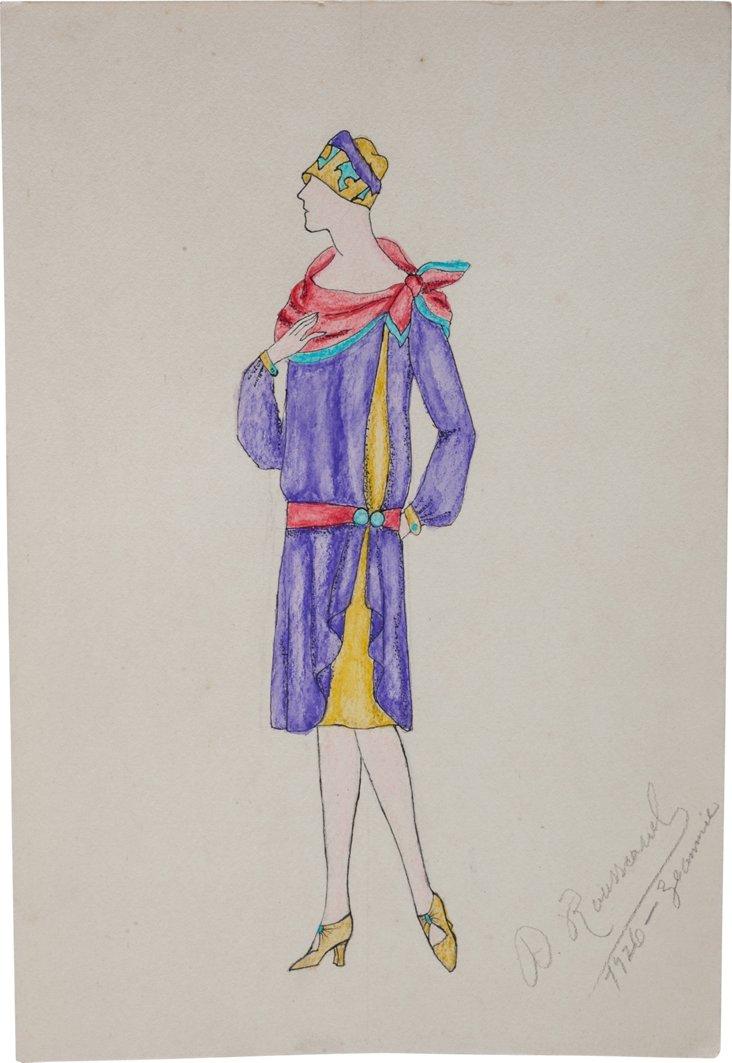 French Fashion Drawing, 1926, VII