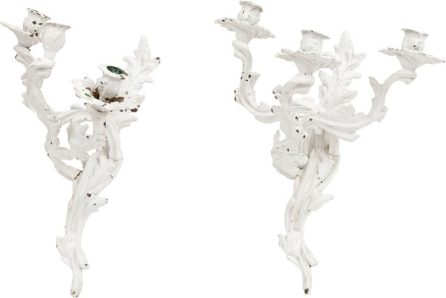 Vintage Painted Candelabra, Pair
