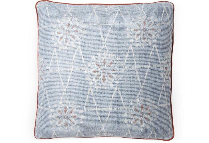 Toji 20x20 Pillow, Blue/Coral