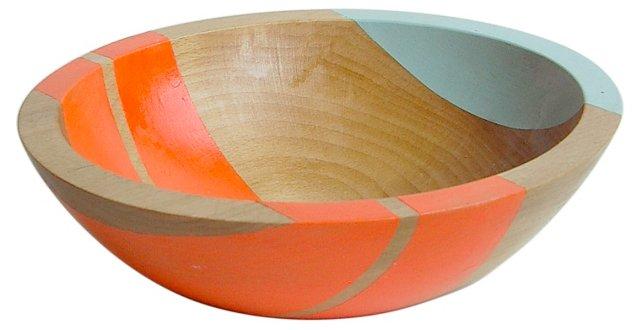 Neon Wood Salad Bowl, Electric Orange