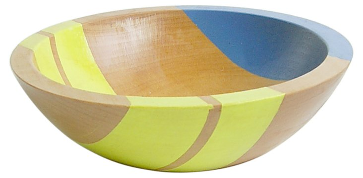 "7"" Neon Wood Salad Bowl, Electric Yellow"
