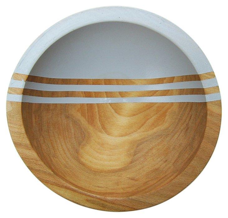 "7"" Graphic Wood Bowl, Dove Gray"