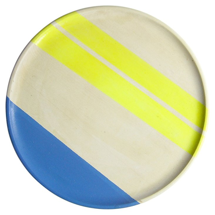 """10"""" Neon Wood Plate, Electric Yellow"""