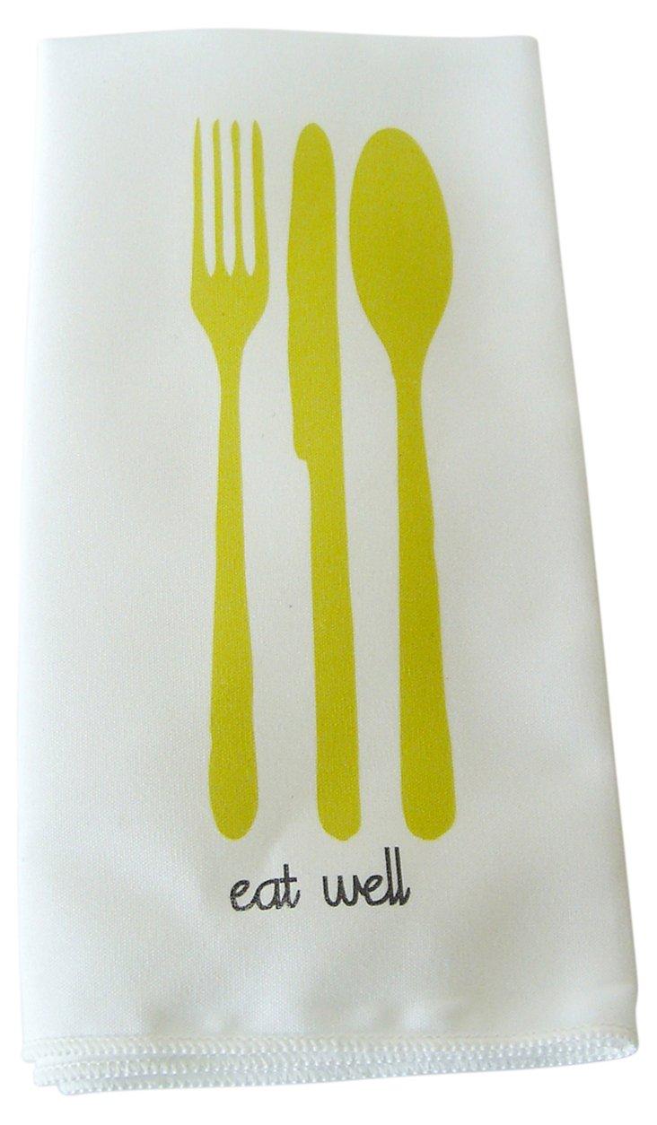 S/4 Eat Well Dinner Napkins, Limeade