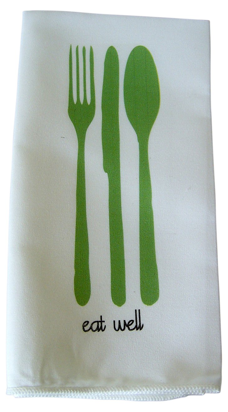 "S/4 ""Eat Well"" Dinner Napkins, Green"
